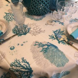 "Coated cotton tablecloth, square or rectangular ""Corail""  blue"