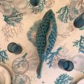 """Coated cotton tablecloth, square or rectangular """"Corail""""  blue"""