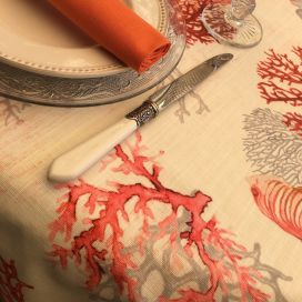 "Coated cotton tablecloth, square or rectangular ""Corail"" orange"