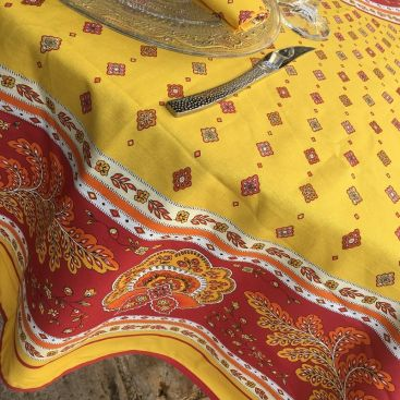"""Provence round tablecloth in cotton """"Mirabeau"""" yellow and red"""