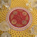 "Provence coated cotton round tablecloth ""Mirabeau"" yellow and red"