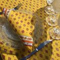 """Provence rectangular tablecloth in coated cotton """"Mirabeau"""" yellow and red"""