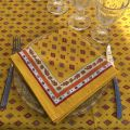 "Provence rectangular tablecloth in coated cotton ""Mirabeau"" yellow and red"