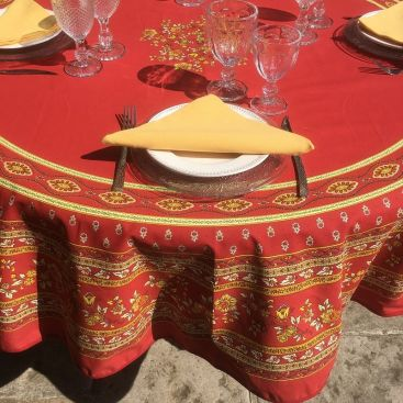"""Rounb tablecloth in cotton """"Avignon"""" yellow and red by """"Marat d'Avignon"""""""