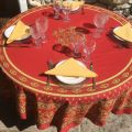"Coated cotton round tablecloth ""Avignon"" yellow and red by ""Marat d'Avignon"""