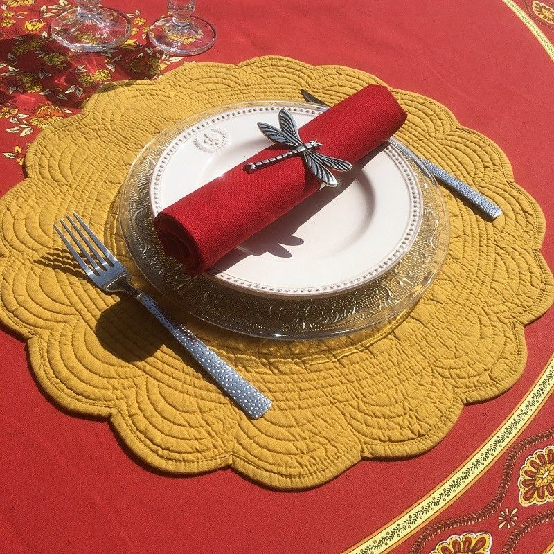 Round table mats, Boutis fashion mustard color by Côté-Table