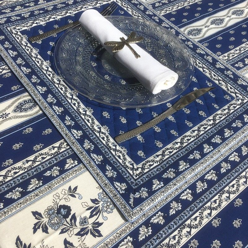 """Bordered quilted placemats """"Avignon"""" white and blue, by Marat d'Avignon"""
