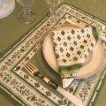 """Serviette en coton """"Mirabeau"""" blanc et vert"""