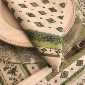 "Cotton napkin ""Mirabeau"" white and green"