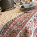 "Jacquard webbed tablecloth ""Mazan"" red and blue, TISSUS TOSELLI, Nice"