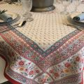 "Square jacquard tablecloth  ""Mazan""  red and blue by Tissus Toselli"
