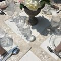 "Polyester  table mat ""Roses blanches"" white and linen bordure"