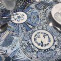 "Jacquard webbed tablecloth ""Sensha"" blue, off-white, TISSUS TOSELLI, Nice"