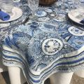"Jacquard webbed tablecloth ""Sensha"" blue, off-white, TISSUS TOSELLI, Nice"