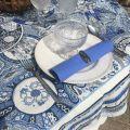 "Nappe rectangulaire Jacquard ""Sensha"" bleu et écru, Tissus Toselli"