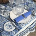 "Rectangular Jacquard tablecloth  ""Sensha"" blue and ecru by Tissus Toselli"