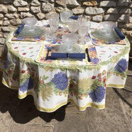 """Nappe provençale ronde en coton """"Roses et Lavandes"""" TISSUS TOSELLI"""