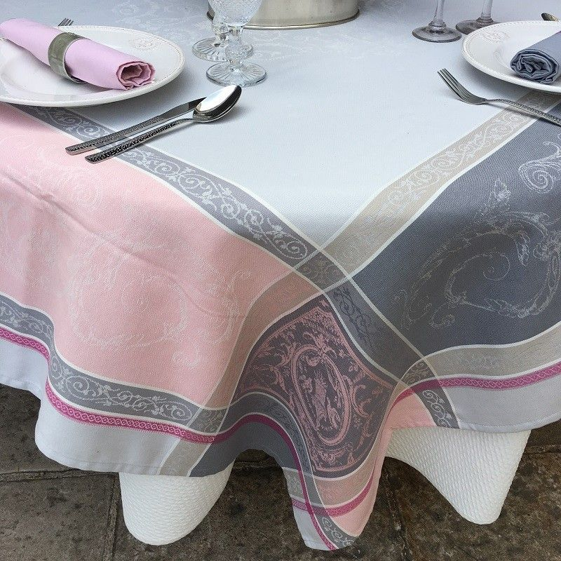 """Square Jacquard tablecloth """"Versailles"""" grey and pink, by Tissusz Toselli"""
