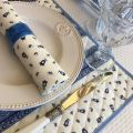 """Serviette en coton """"Tradition"""" Bleue et blanche  """"Marat d'Avignon"""