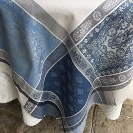 "Rectangular Jacquard tablecloth ""Vaucluse"" grey and blue, by TISSUS TOSELLI, Nice"