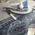 "Webbed Jacquard tablecloth ""Vaucluse"" grey and blue, by TISSUS TOSELLI, Nice"