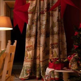 "Mezzero ""Christmas Express"" Grand foulard signé Tessitura Toscana Telerie"