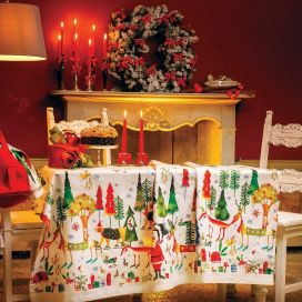 """Tessitura Toscana Tellerie, square coton tablecloth """"Natale nel Bosco"""""""