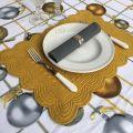 COTE TABLE, Rectangular table mats, Boutis fashion mustard color