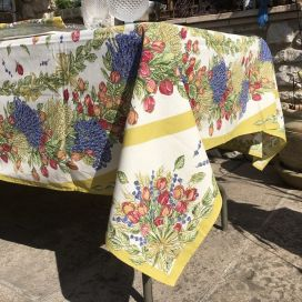 "Tablecoth in cotton ""Roses et Lavandes"""