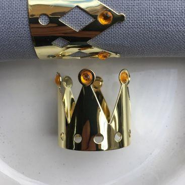 Golden metal napkins ring or place-card Krown - set of 6