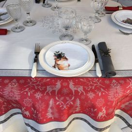 """Webbed Jacquard tablecloth """"Vars"""" grey and red, by TISSUS TOSELLI, Nice"""