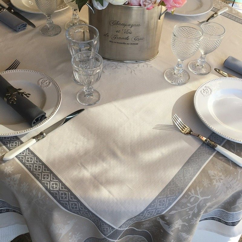 """Rectangular Jacquard tablecloth """"Vars"""" grey and linen color by Tissus Toselli"""
