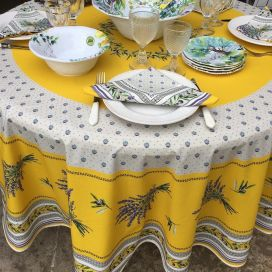 "Round tablecloth in cotton, diameter 91""  ""Lauris"" olives and lavandes yellow, by TISSUS TOSELLI"