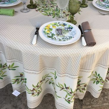 """Round tablecloth in cotton, diameter 91""""  """"Nyons"""" olives Off-White, by TISSUS TOSELLI"""