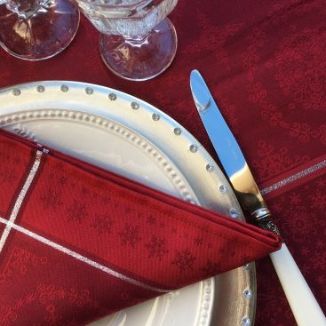 "Table napkins  Sud Etoffe ""Santa Claus"" red and silver"