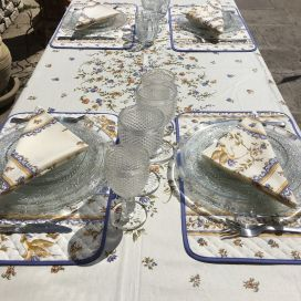 "Provence rectangular placed cotton tablelcoth ""Moustiers"" blue and ecru, Tissus Toselli in Nice"