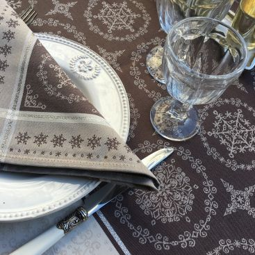 """Table napkins  Sud Etoffe """"Santa Claus"""" beige and silver"""