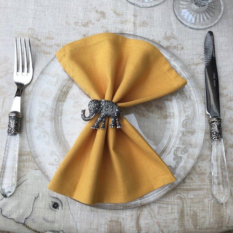 """Serviette de table en coton """"Coucke"""" uni curry"""