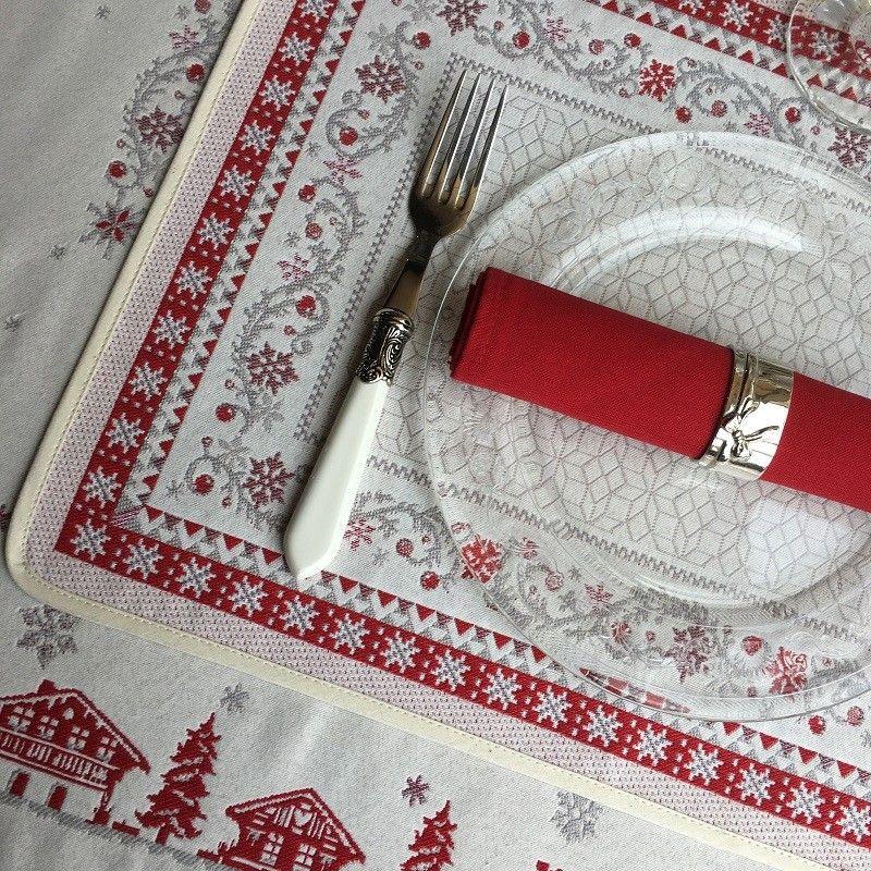 """Set de table Jacquard """"Minuit"""" rouge et gris Tissus Toselli, Nice"""