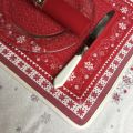 "Jacquard placemat,""Minuit"" red and grey from Tissus Toselli in Nice"
