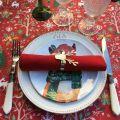 """Nappe en coton enduit """"Laponie"""" rouge et verte, Tissus Toselli, Nice"""