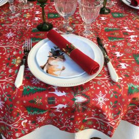 "Coated cotton tablecloth ""Laponie"" red and green, Tissus Toselli, made in Nice"