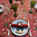 """Coated cotton tablecloth """"Laponie"""" red and green, Tissus Toselli, made in Nice"""