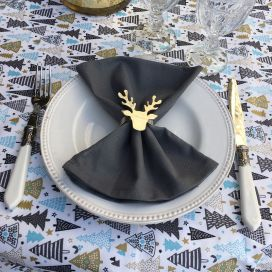 "Silver metal Table napkin ring ""Cerf"""