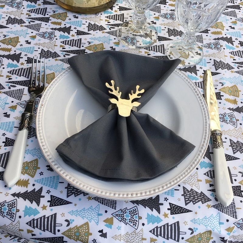 """Silver metal table napkin ring """"Cerf"""""""