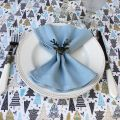 """Coated cotton tablecloth """"Féerie"""" bue, ,off white, Tissus Toselli, made in Nice"""
