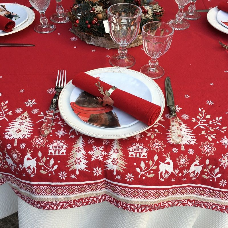 "Rectangular Jacquard tablecloth ""Vallée"" white and red, Tissus Toselli"
