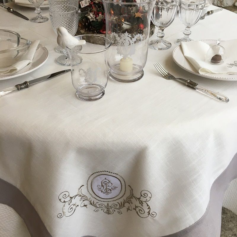 """Linen and polyester tablecloth """"Versailles"""" Ivory and grey linen bordure"""