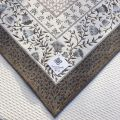 """Jacquard-webbed tablecloth  """"Aubrac"""" taupe and pale blue, Tissus Toselli"""