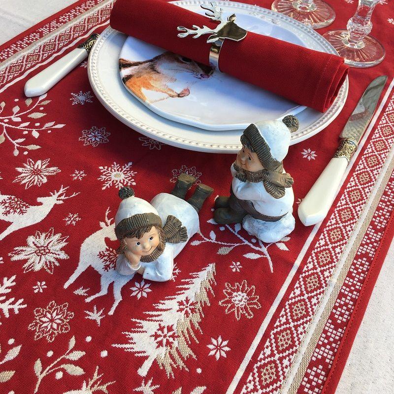 """Chemin de table en Jacquard """"Vallée"""" rouge  """" Tissus Tosseli"""
